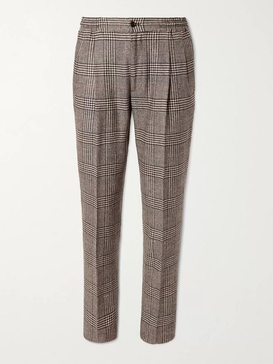RUBINACCI Tapered Prince of Wales Checked Virgin Wool-Blend Suit Trousers