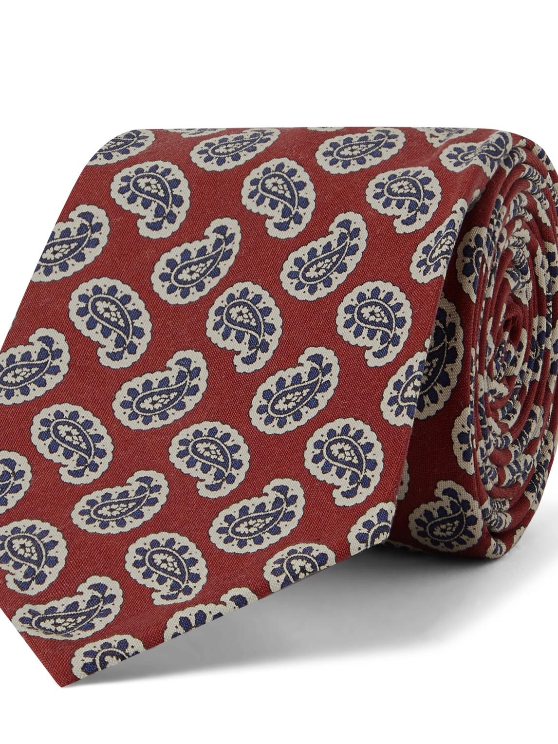 rubinacci - 8cm paisley-print silk tie - men - red - one size