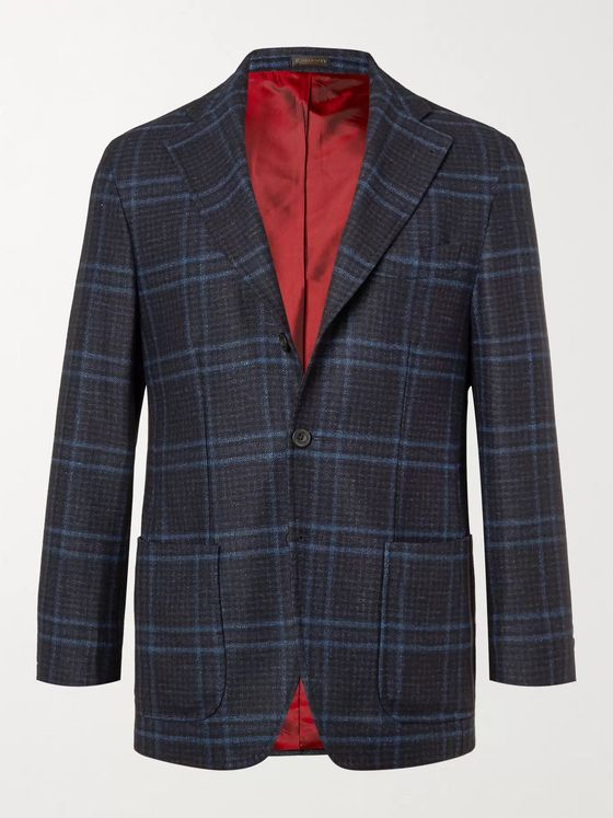 Rubinacci Prince of Wales Checked Virgin Wool, Silk and Cashmere-Blend Blazer