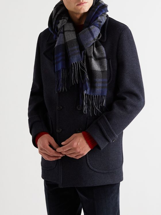 Rubinacci Fringed Checked Cashmere Scarf