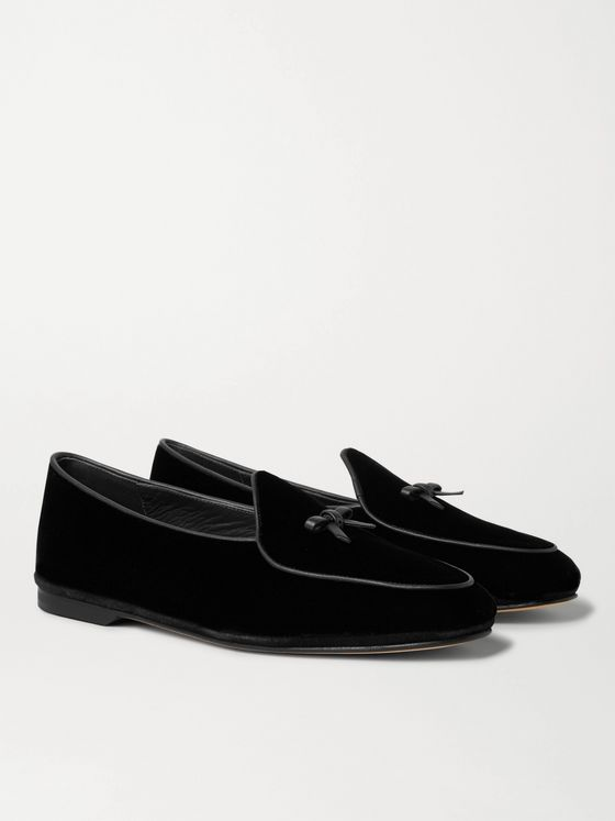 Rubinacci Marphy Leather-Trimmed Velvet Tasselled Loafers