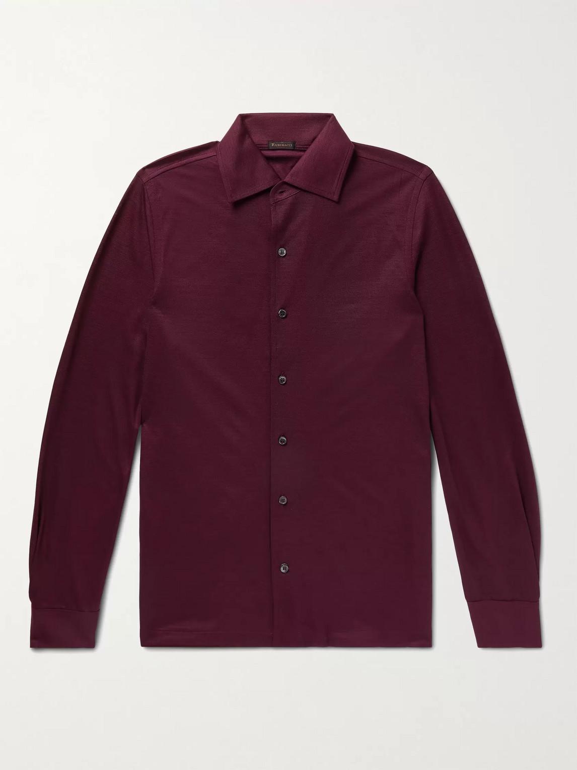 Rubinacci Slim-fit Wool Shirt In Burgundy