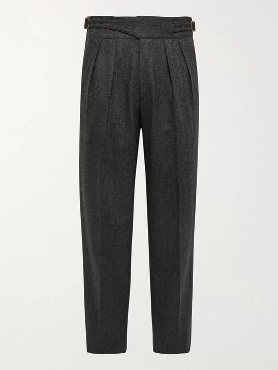 Rubinacci Tapered Pleated Herringbone Virgin Wool Trousers