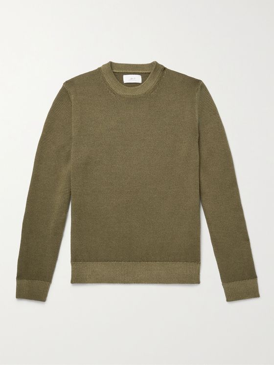MR P. Garment-Dyed Waffle-Knit Merino Wool Sweater