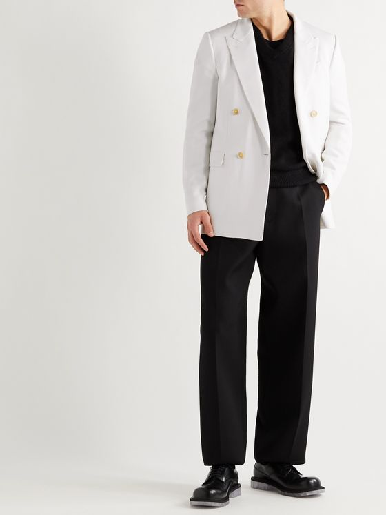 ALDOMARIACAMILLO Double-Breasted Grain de Poudre Wool Tuxedo Jacket