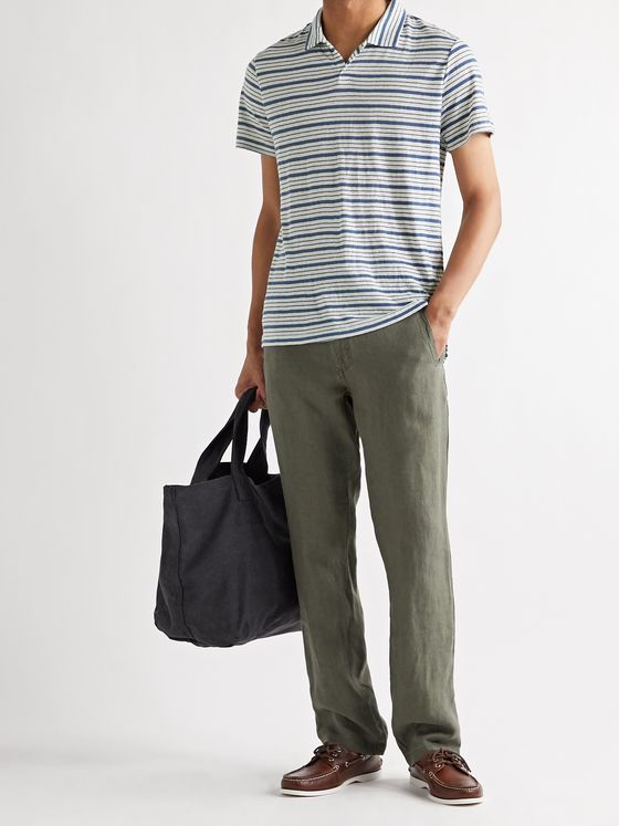 ONIA Shaun Striped Linen-Blend Polo Shirt