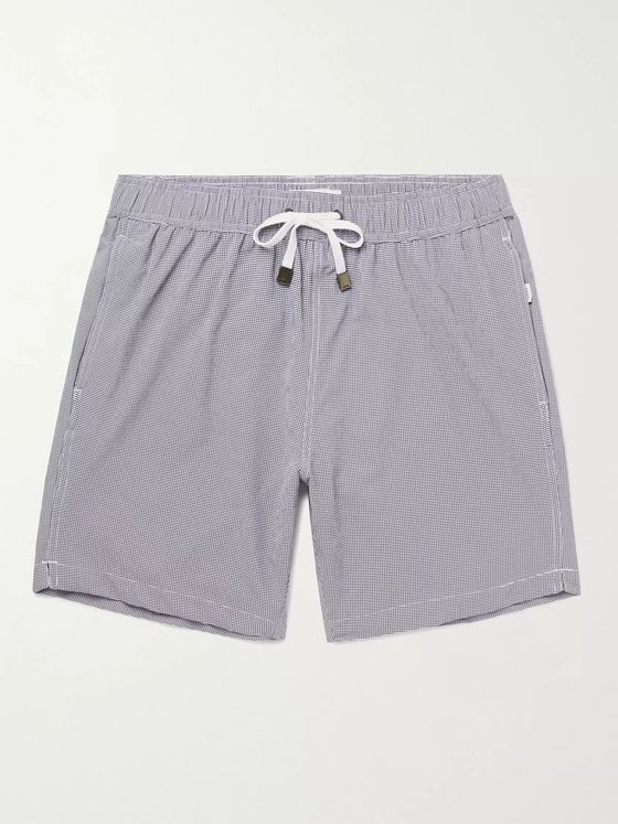 ONIA Charles Mid-Length Micro-Gingham Swim Shorts