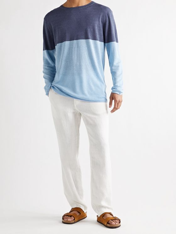 ONIA Kevin Colour-Block Linen and TENCEL-Blend Sweater