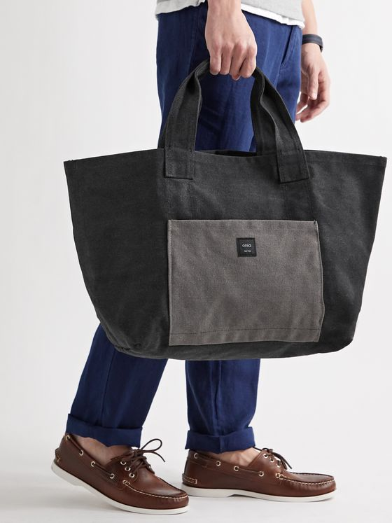 ONIA Reversible Logo-Appliquéd Colour-Block Cotton-Canvas Tote Bag