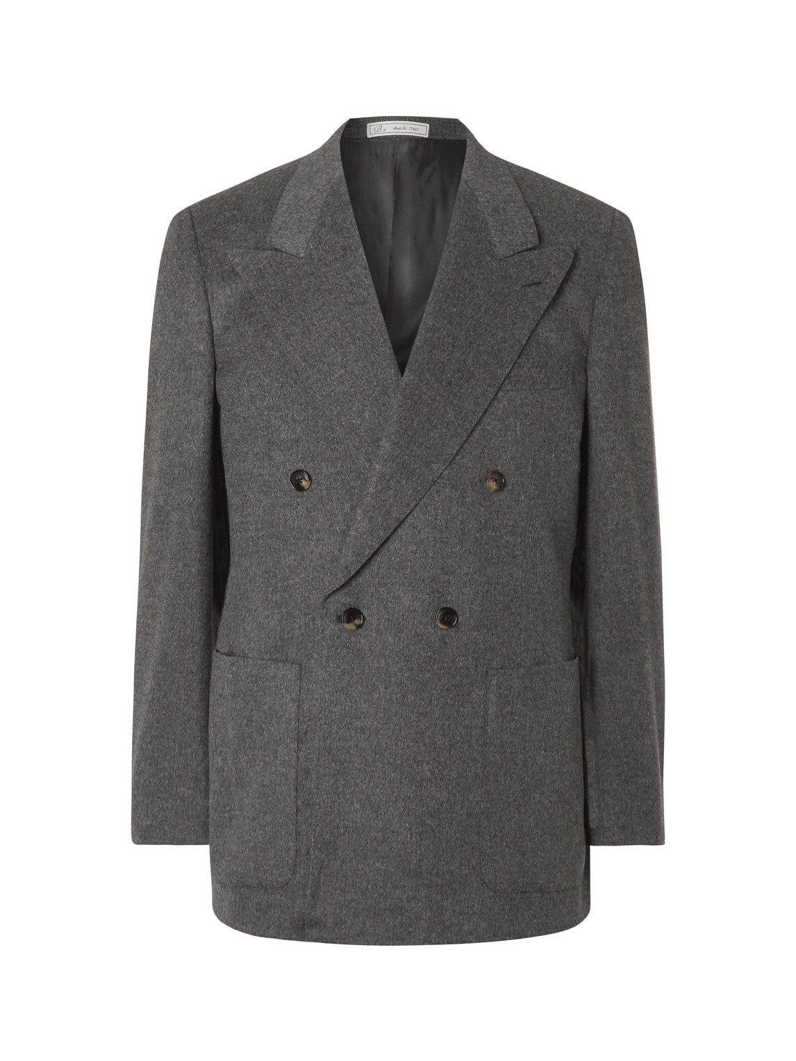 umit benan b - double-breasted camel suit jacket - men - gray - it 46