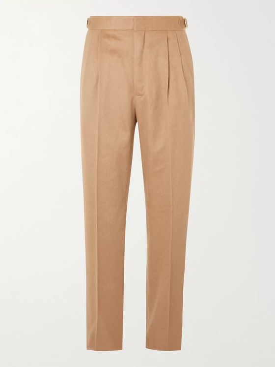 UMIT BENAN B+ Tapered Pleated Camel Hair Suit Trousers