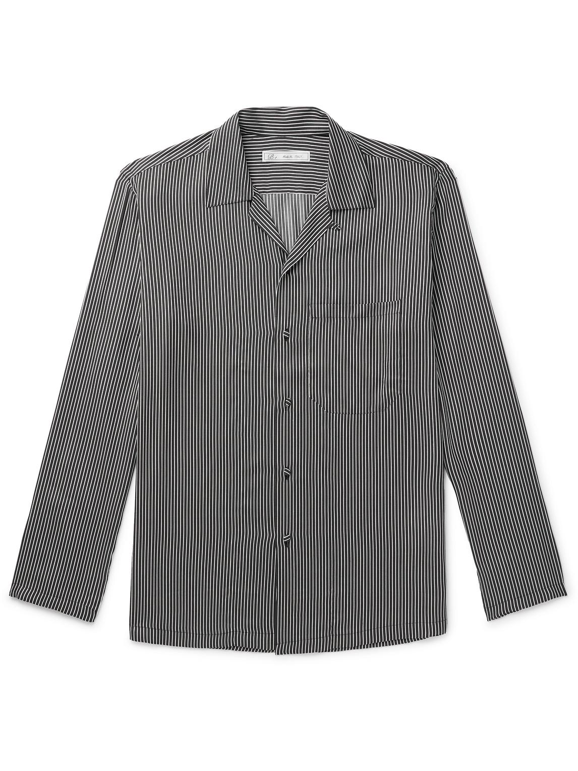 umit benan b - slim-fit camp-collar striped silk shirt - men - black - it 46