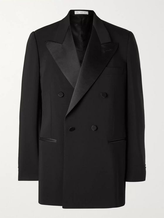 UMIT BENAN B+ Double-Breasted Satin-Trimmed Wool-Blend Tuxedo Jacket