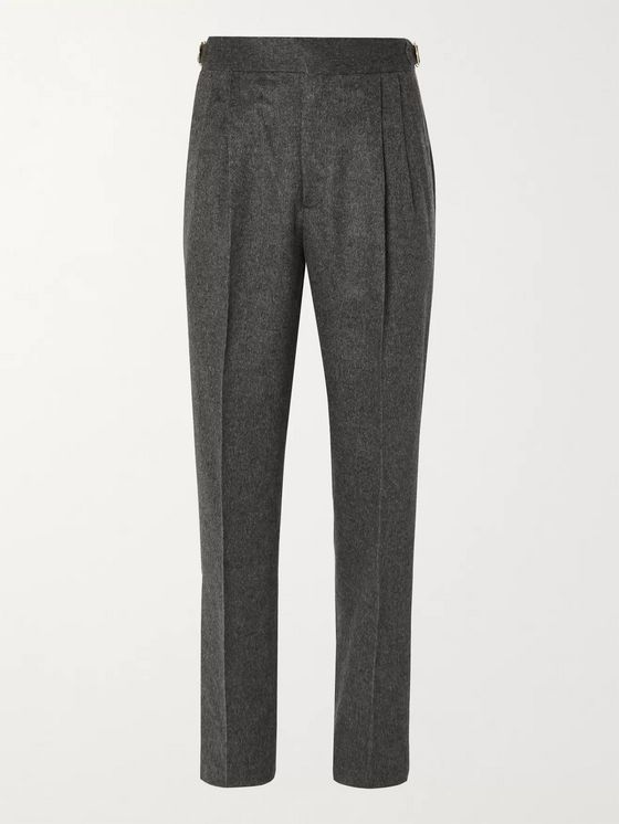 UMIT BENAN B+ Tapered Pleated Melangé Camel Hair Suit Trousers