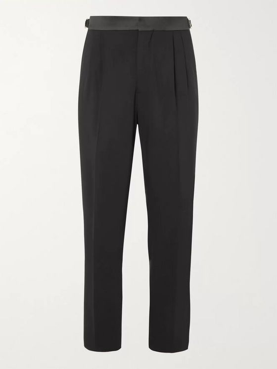UMIT BENAN B+ Tapered Satin-Trimmed Virgin Wool-Blend Tuxedo Trousers