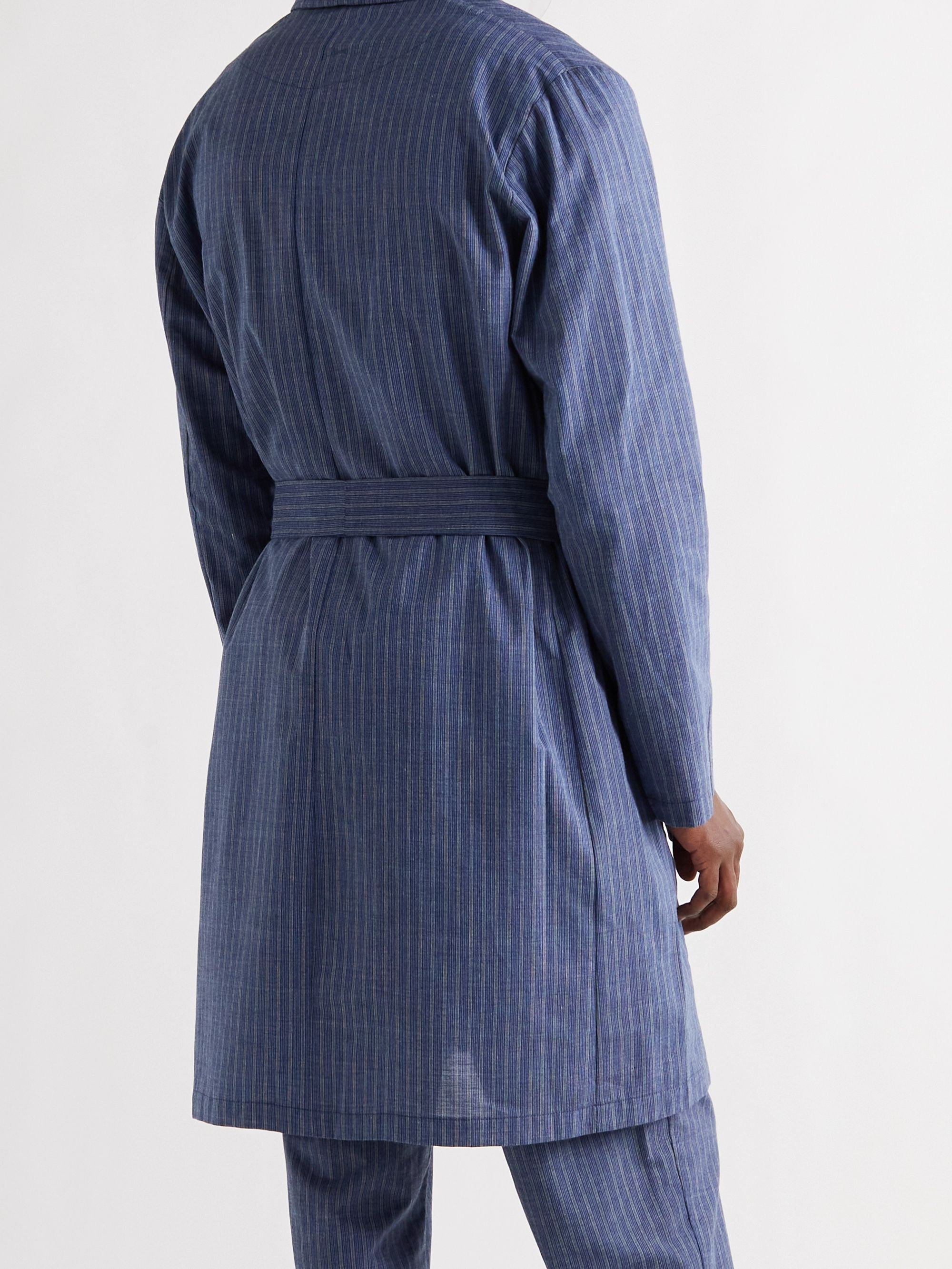 OLIVER SPENCER LOUNGEWEAR Townsend Striped Organic Cotton-Blend Robe