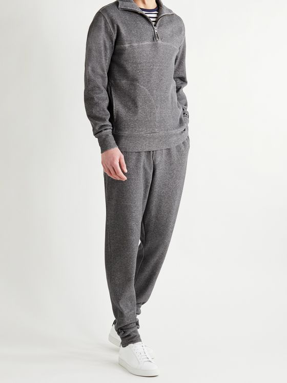 OLIVER SPENCER LOUNGEWEAR Milner Recycled Cotton-Blend Jersey Half-Zip Sweatshirt