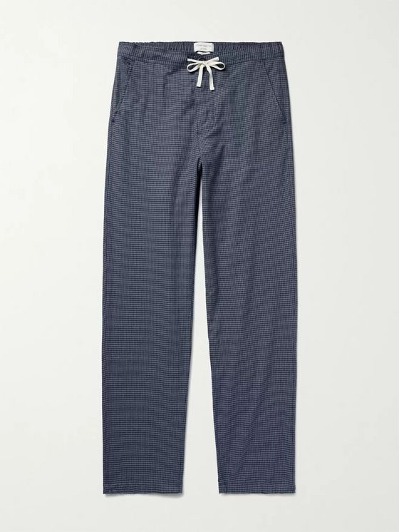 OLIVER SPENCER LOUNGEWEAR Gingham Brushed Organic Cotton-Twill Pyjama Trousers