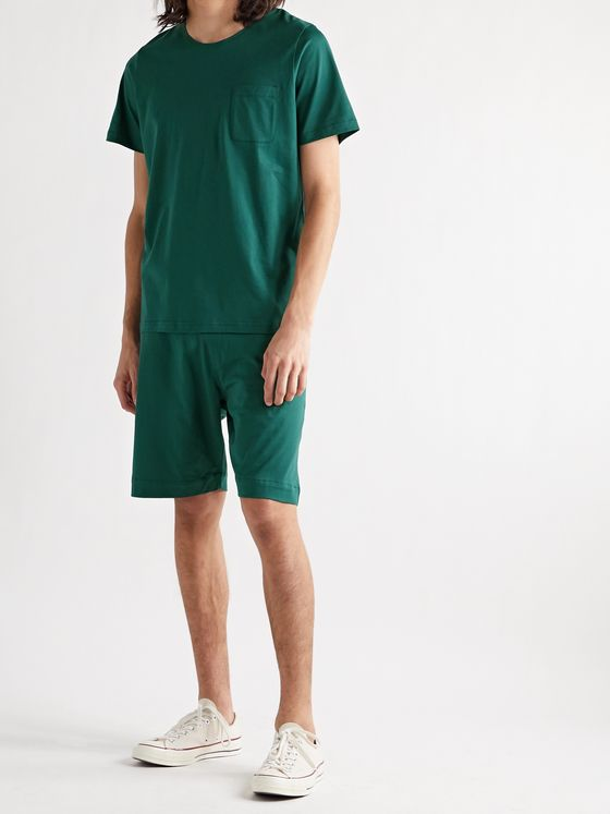 Oliver Spencer Loungewear Comfort Supima Cotton-Jersey Drawstring Shorts