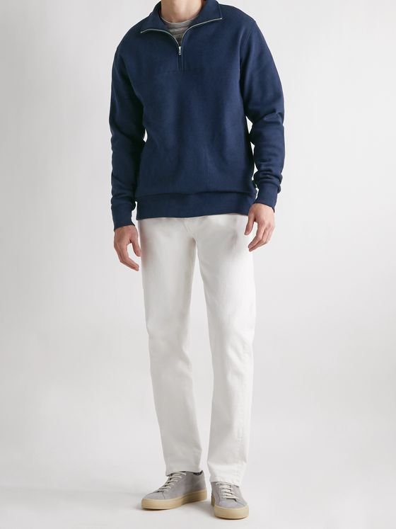 Oliver Spencer Loungewear Milner Cotton-Blend Jersey Half-Zip Sweatshirt