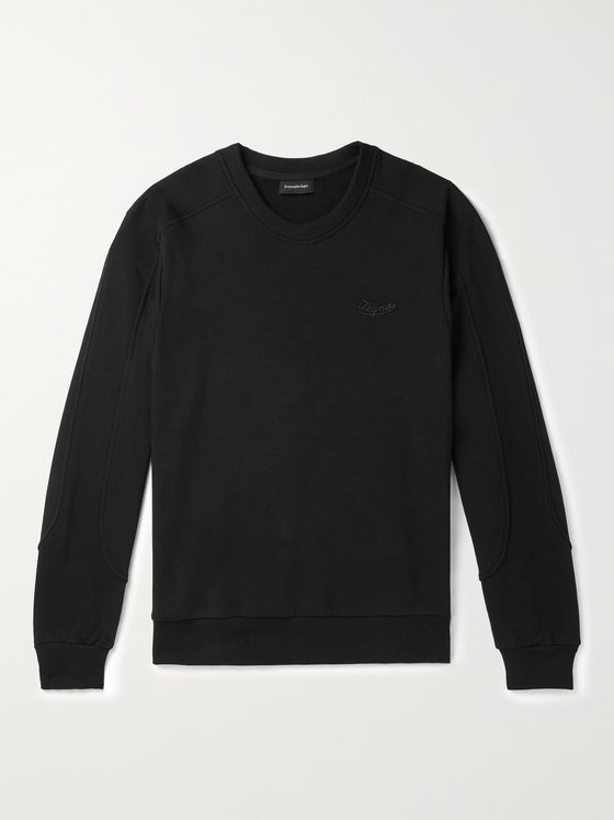 ERMENEGILDO ZEGNA Logo-Detailed Loopback Cotton-Blend Jersey Sweatshirt