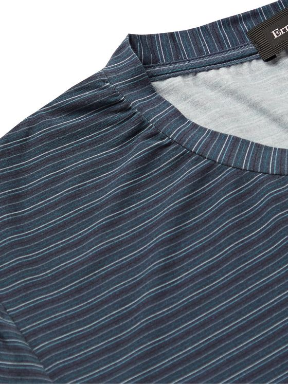 ERMENEGILDO ZEGNA Striped Stretch-Modal T-Shirt