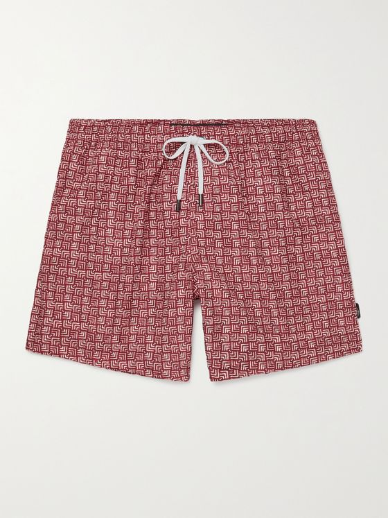ERMENEGILDO ZEGNA Slim-Fit Mid-Length Printed Swim Shorts