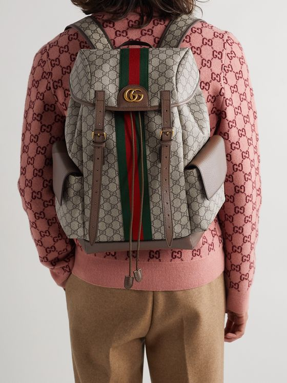 Gucci Ophidia Leather and Webbing-Trimmed Monogrammed Coated-Canvas Backpack