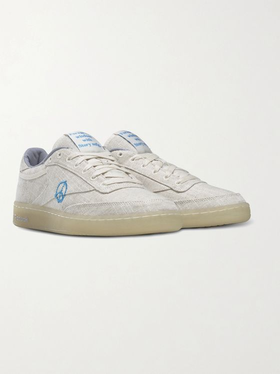 REEBOK + Story Mfg. Club C 85 Linen and Cotton-Blend Sneakers