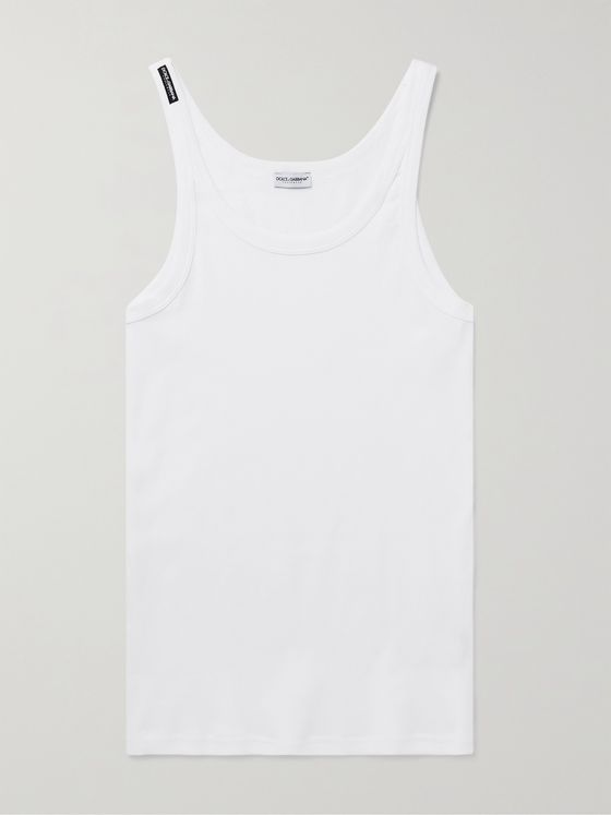 DOLCE & GABBANA Ribbed Cotton-Jersey Tank Top