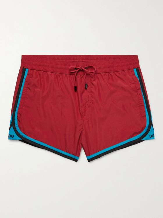 DOLCE & GABBANA Slim-Fit Short-Length Stripe-Trimmed Swim Shorts