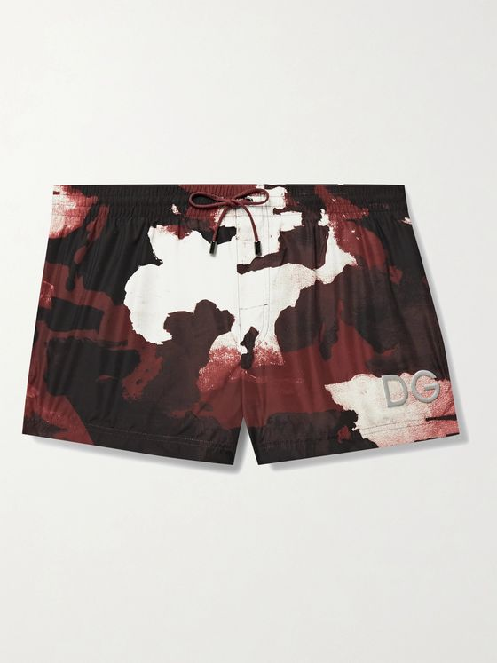 DOLCE & GABBANA Short-Length Logo-Appliquéd Printed Swim Shorts
