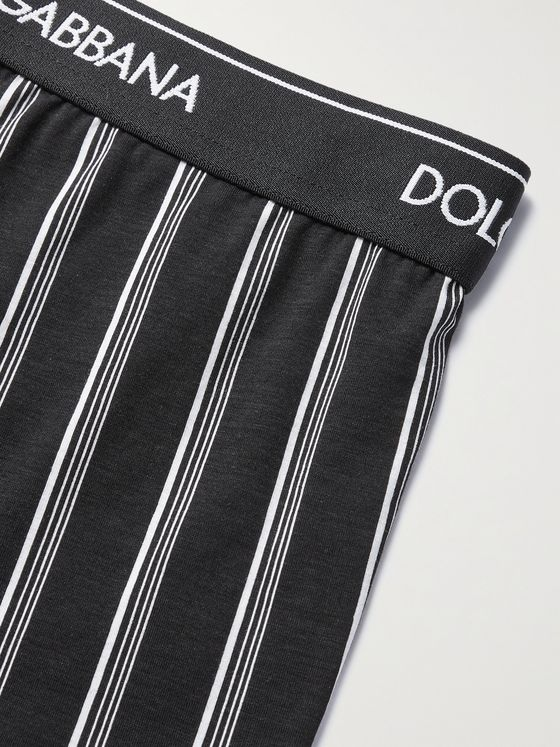 DOLCE & GABBANA Striped Stretch-Cotton Boxer Briefs