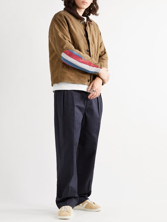 VISVIM Deckhand Albacore Stripe and Shearling-Trimmed Cotton Jacket
