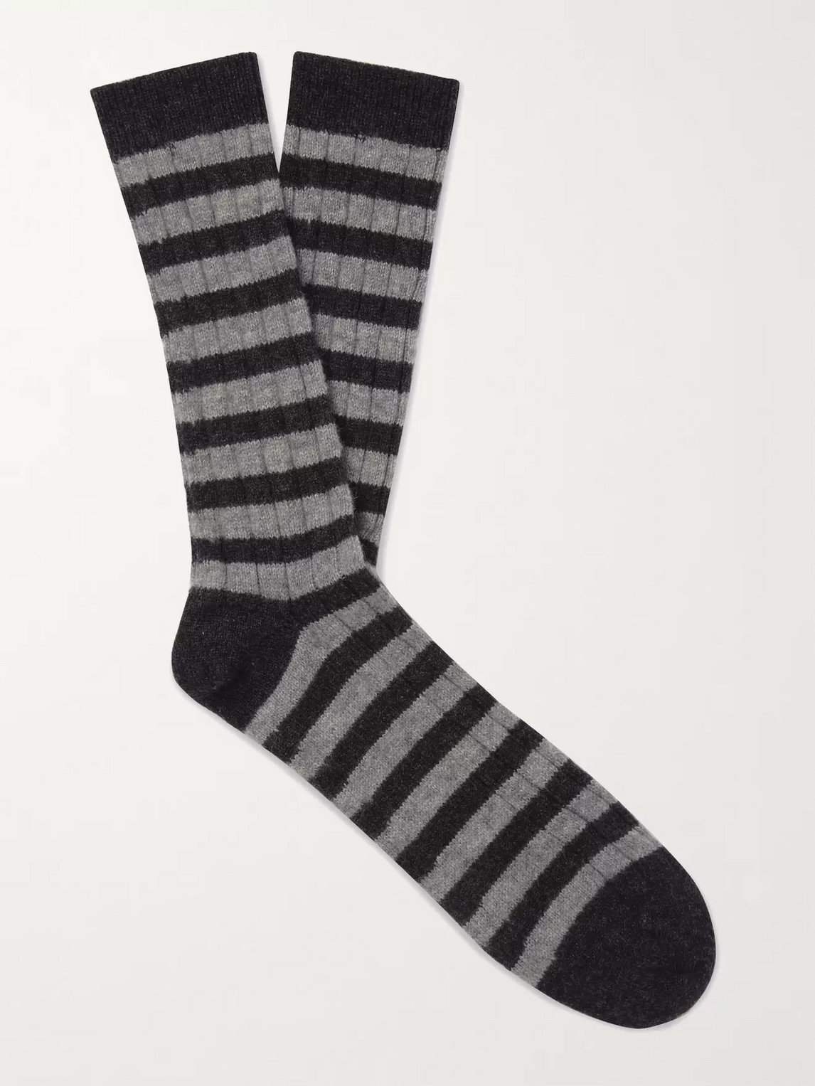 William Lockie Striped Ribbed Cashmere-blend Socks In Gray