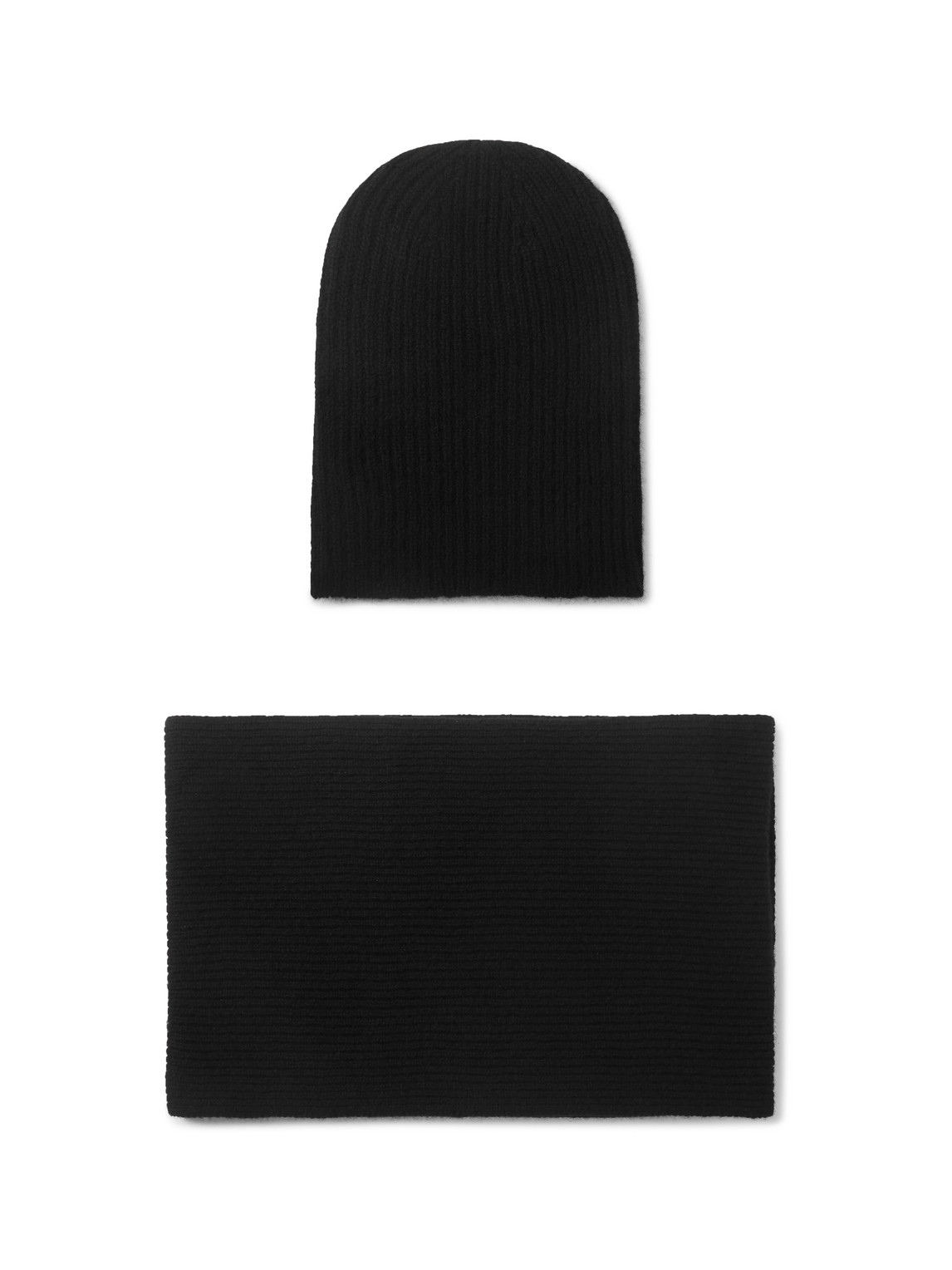 William Lockie - Ribbed Cashmere Hat And Scarf Set - Men - Black