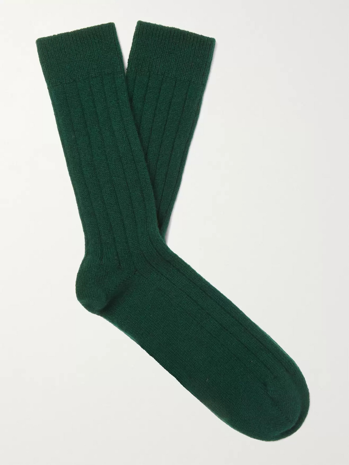 William Lockie Ribbed Cashmere-blend Socks In Green