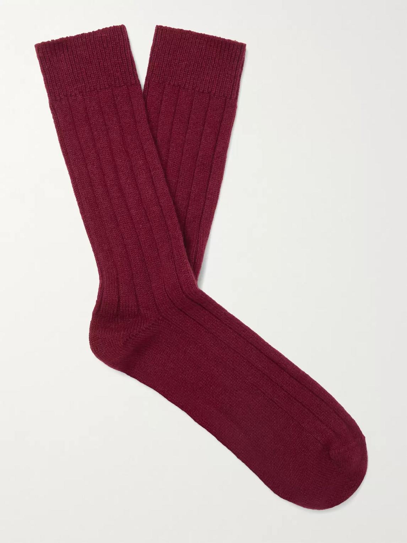 William Lockie Ribbed Cashmere-blend Socks In Burgundy