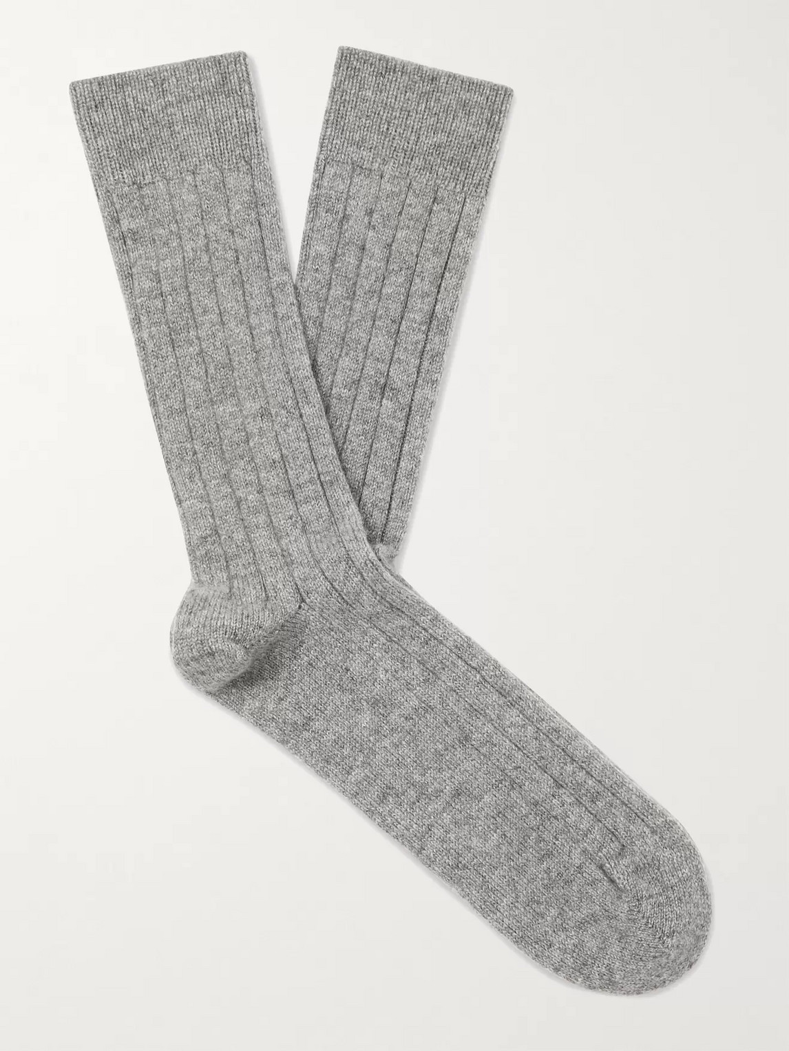 William Lockie Ribbed Mélange Cashmere-blend Socks In Gray