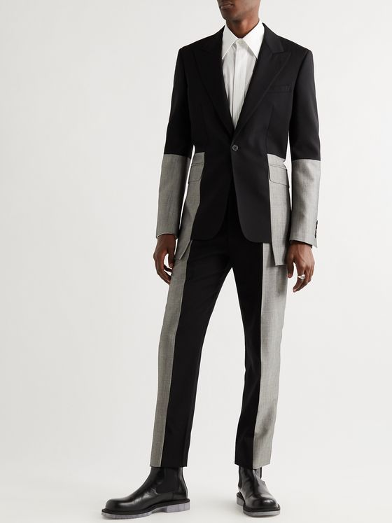 ALEXANDER MCQUEEN Slim-Fit Panelled Wool-Gabardine and Wool and Mohair-Blend Suit Jacket