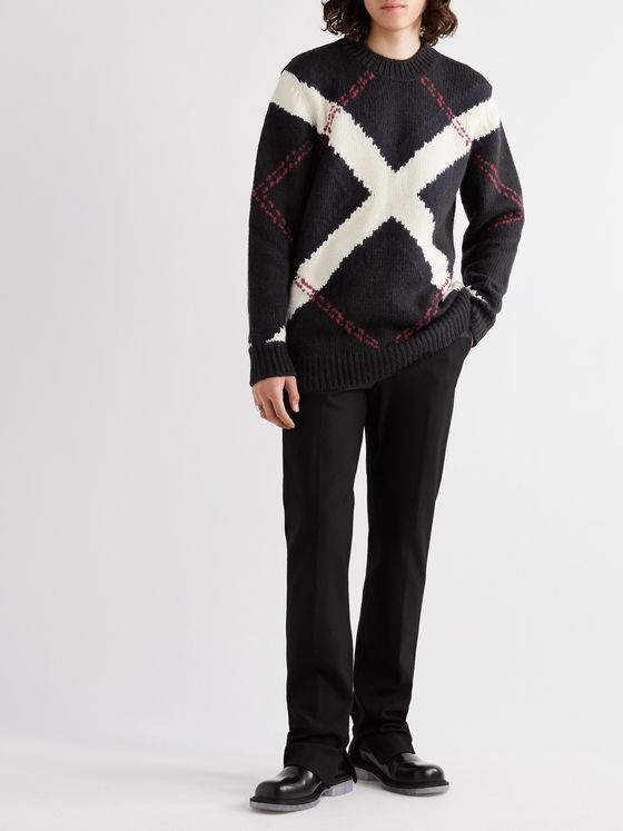 ALEXANDER MCQUEEN Argyle Intarsia Wool and Cashmere-Blend Sweater