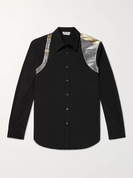 ALEXANDER MCQUEEN Lamé-Trimmed Stretch-Cotton Poplin Shirt