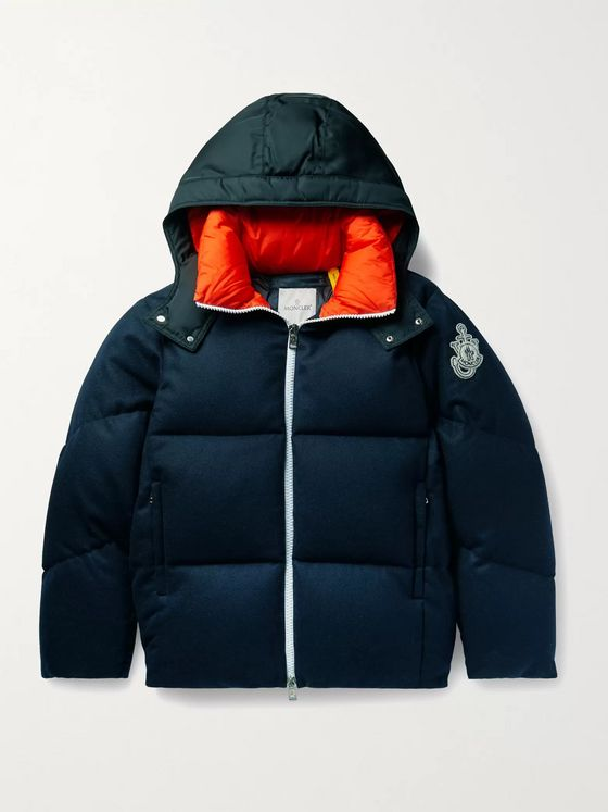 Moncler Genius 1 Moncler JW Anderson Logo-Appliquéd Shell-Trimmed Quilted Wool-Flannel Hooded Down Jacket