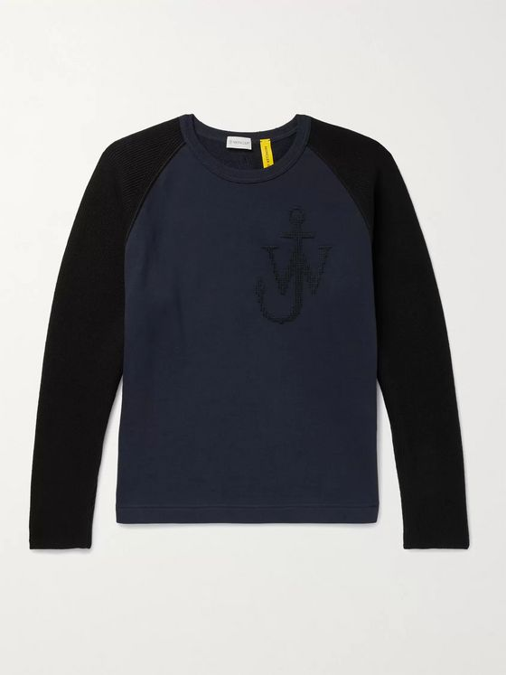 Moncler Genius +1 JW Anderson Logo-Embroidered Virgin Wool and Loopback Cotton-Jersey Sweatshirt