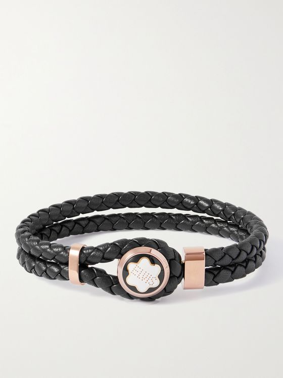MONTBLANC Woven Leather, Gold-Tone and Enamel Bracelet
