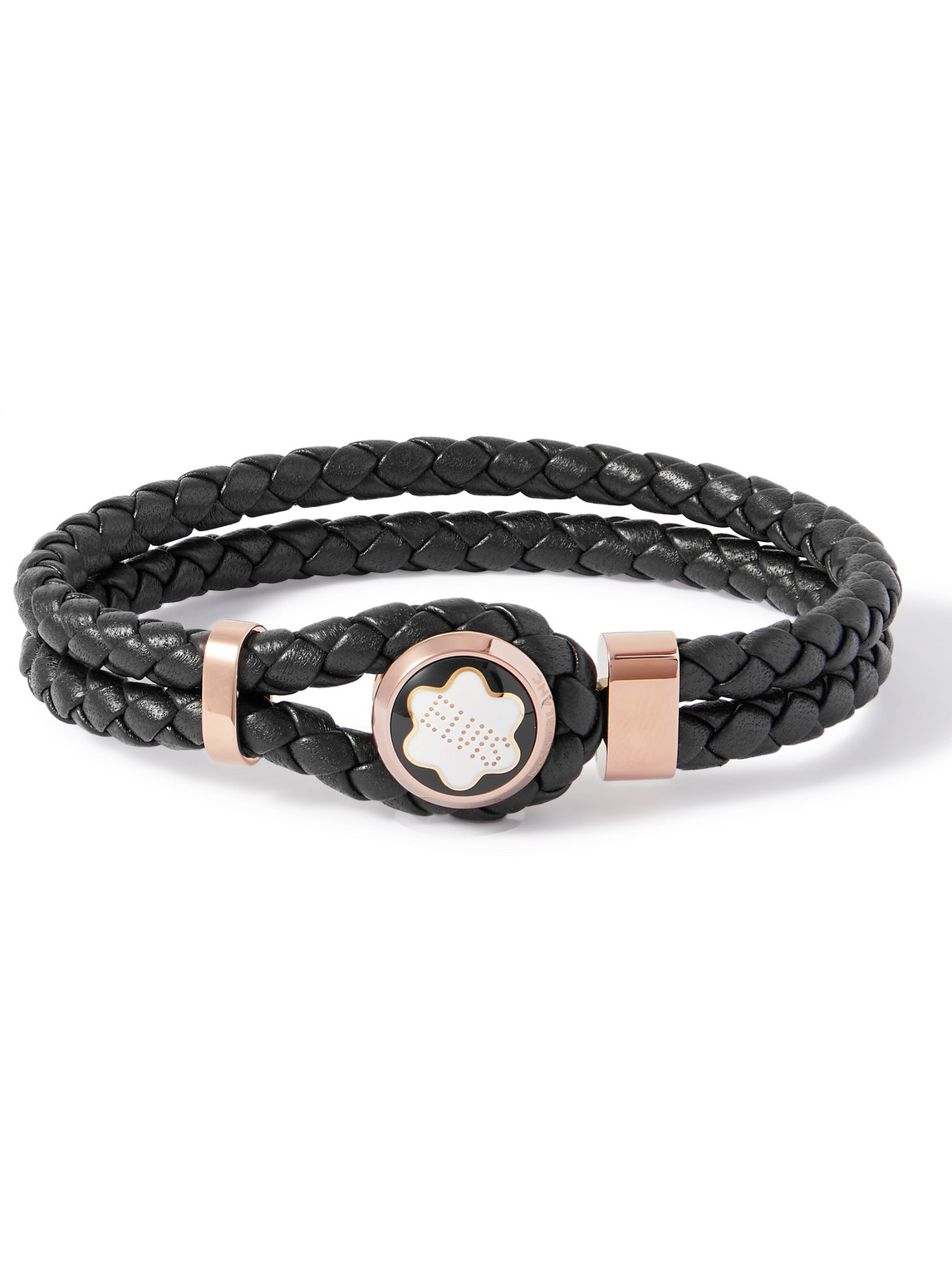 Montblanc Woven Leather, Gold-tone And Enamel Bracelet In Black
