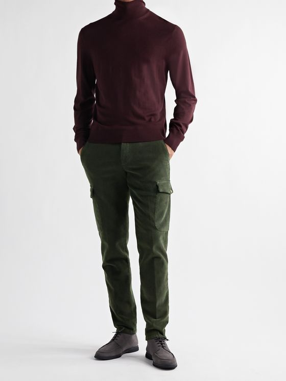 THOM SWEENEY Tapered Slim-Fit Stretch-Cotton Corduroy Trousers