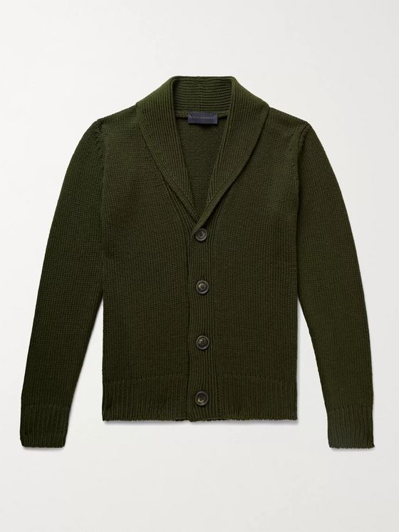 THOM SWEENEY Slim-Fit Shawl-Collar Ribbed Merino Wool Cardigan