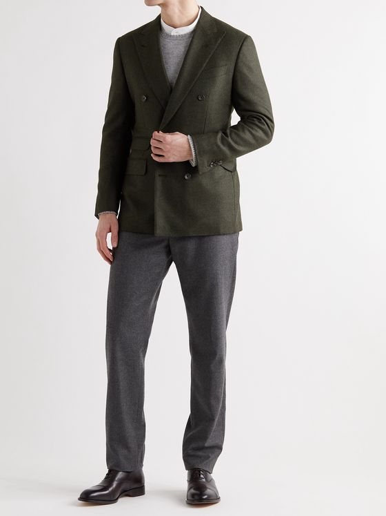 THOM SWEENEY Double-Breasted Wool and Cashmere-Blend Blazer