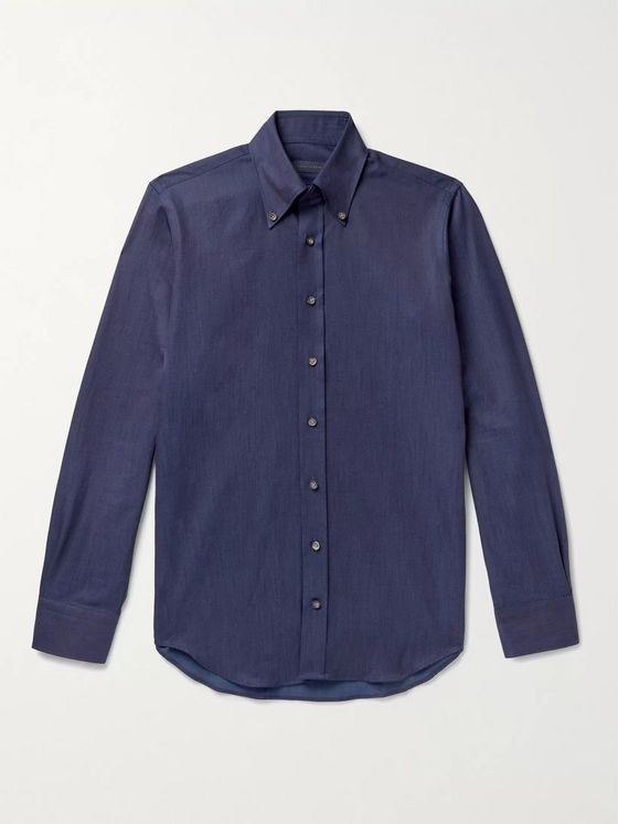 THOM SWEENEY Button-Down Collar Cotton-Chambray Shirt